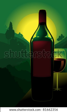 Illustration of bottle of red with with glass; green countryside vineyard in background.