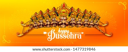 illustration of Bow and Arrow of Rama in Happy Dussehra festival of India background