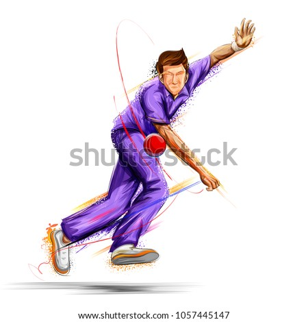 illustration of Bowler bowling in cricket championship sports Stockfoto ©