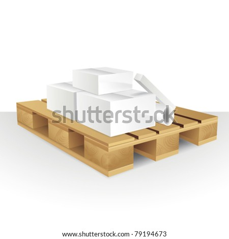 Illustration of Boxes in wood pallet