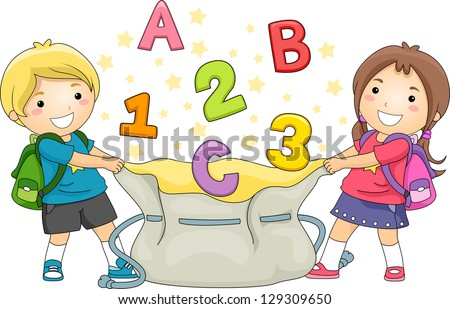girl kids holding a large bag catching abc s and 123 s   stock vector