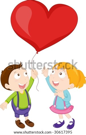 Illustration of boy and girl playing with balloon