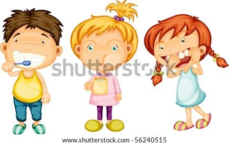 Illustration of Boy & Girls on white background