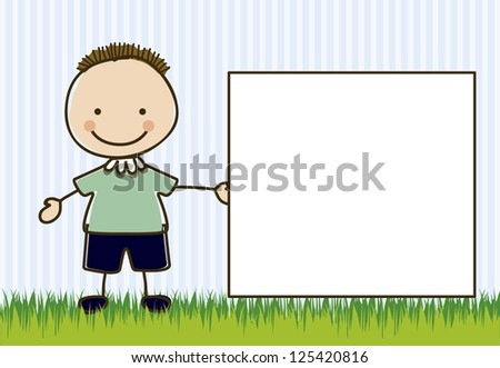 Illustration of boy, in cartoon style and sketch, vector illustration