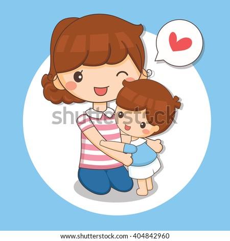 illustration of boy love his mom