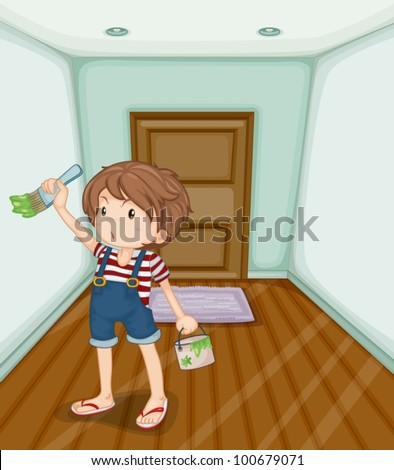 Illustration of boy painting his home - stock vector
