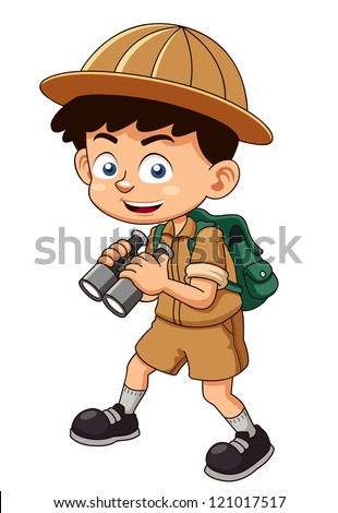illustration of Boy scout with binoculars