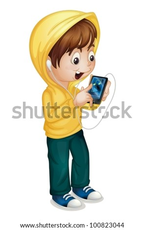 Illustration of  boy using a tablet pc