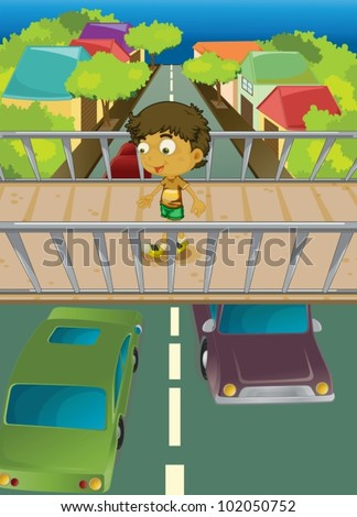 Illustration of boy using overpass