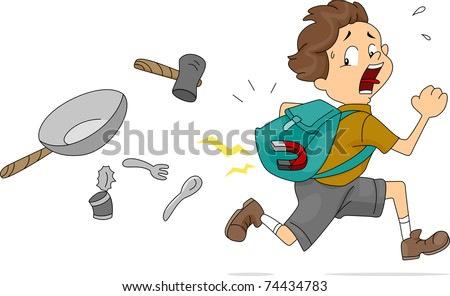 Illustration of Boy With a Magnet Inside His Bag - stock vector