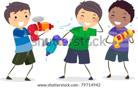 Illustration of Boys Playing with Water Guns
