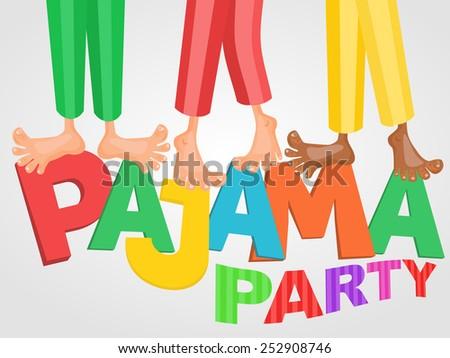 Illustration of boys three having pajama slumber party. Vector card