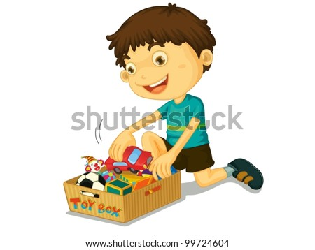 Illustration of boys with his toys