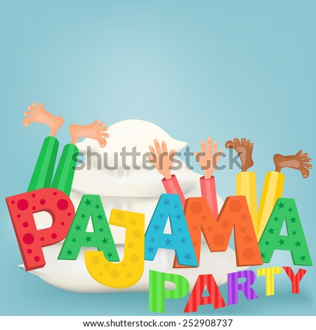 Illustration of boys with pillows having pajama slumber party. Vector card