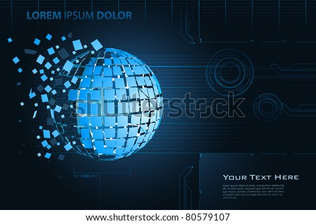 illustration of breaking earth on abstract technological background