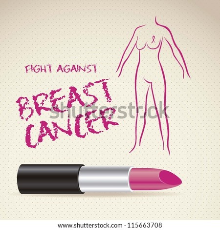 Illustration of breast cancer, woman with awareness ribbon, vector illustration