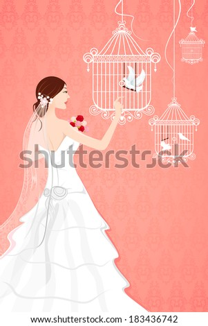 illustration of bride with bird
