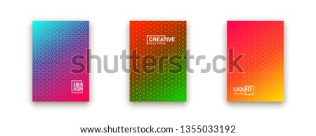 illustration of bright color abstract pattern background with line gradient texture for minimal dynamic cover design. Blue, pink, yellow, green placard poster template #1355033192