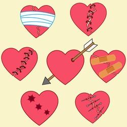 illustration of broken hearts