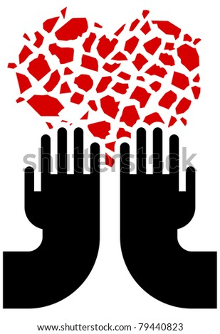 illustration of broken red heart and hands