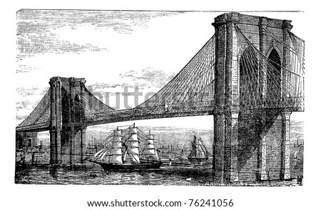 illustration of brooklyn bridge ...