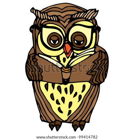 Illustration of brown owl reading a book