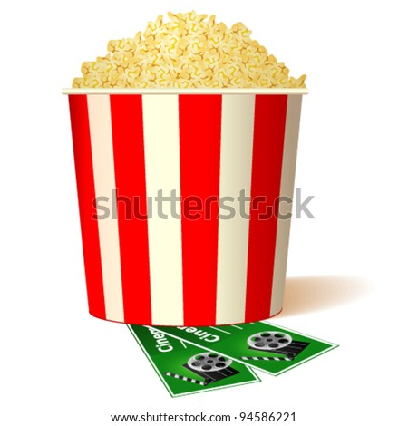 illustration of bucket full of popcorn with two tickets