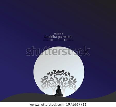 "illustration of Buddha Purnima Background ""abstract of Lord Buddha in meditation under peepal tree"" Happy Buddha Purnima Vesak,Buddhist festival- Vector"