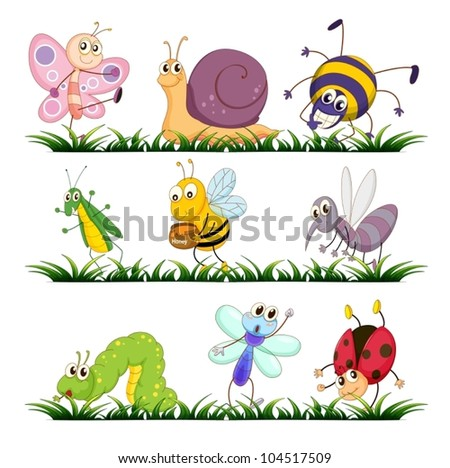 Illustration of bugs on grass