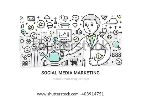 Illustration of building social media presence, developing social media channels, distributing content. Customer research and segmenting, media content strategy and internet marketing concept
