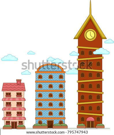 Illustration of Buildings to Show Degrees of Comparison from Tall, Taller to Tallest Foto stock ©