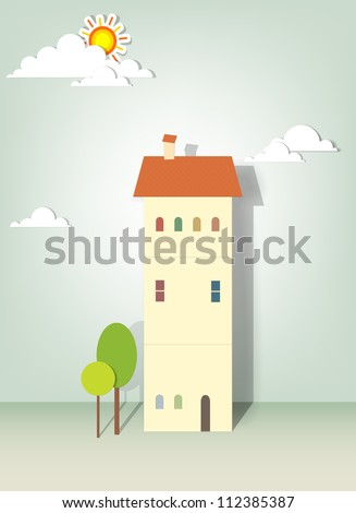 illustration of buildings, trees, clouds and sun - stock vector