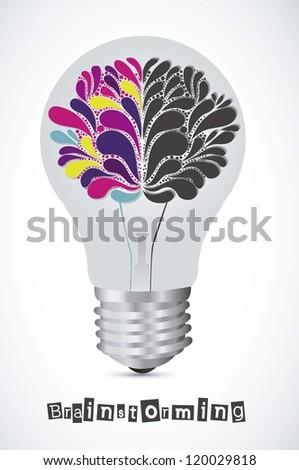 Illustration of bulb with human brain, vector illustration - stock vector