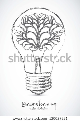 Illustration of bulb with human brain, vector illustration - stock vector
