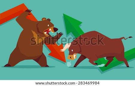 illustration of bull vs bear...