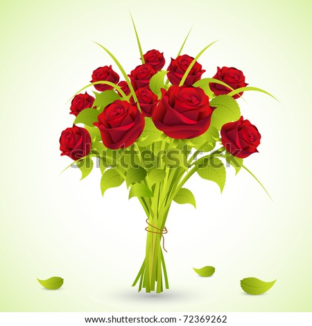 illustration of bunch of roses in a bouquet on abstract background stock photo