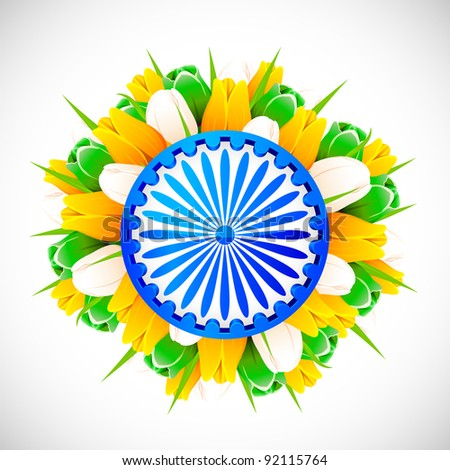 illustration of bunch of tulip flower in color of indian flag with Ashok wheel