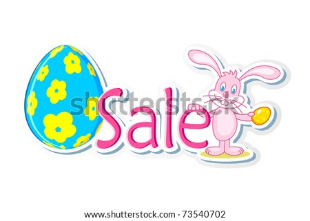 illustration of bunny holding easter egg and sale tag