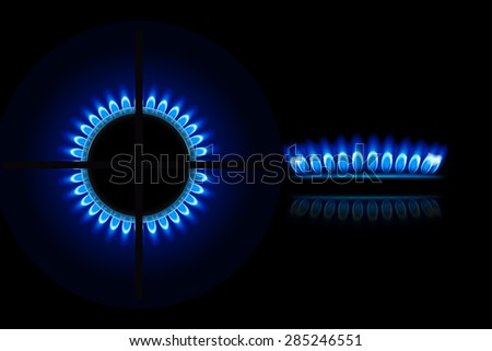 illustration of burner ring from two views up and side Foto d'archivio ©