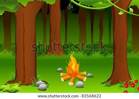 illustration of burning bonfire