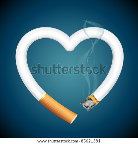 illustration of burning cigarette in shape of heart on abstract background