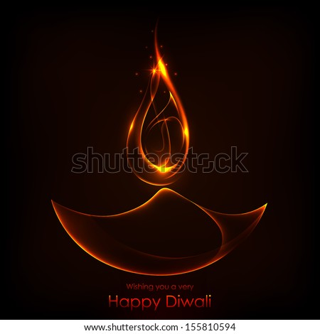 illustration of burning diwali