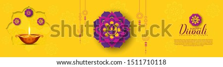 illustration of burning diya flames, Happy Diwali, Holiday background for light festival of India.web page, banner, sale promotion.