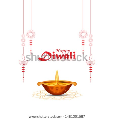 illustration of burning diya, Happy Diwali, Holiday background for light festival of India