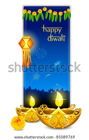 illustration of burning diya with hanging kandil in diwali card - stock vector