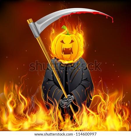 illustration of burning Halloween grim with pumpkin head