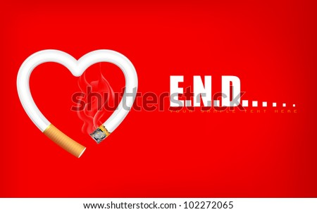 illustration of burning heart shape cigarette showing end of life