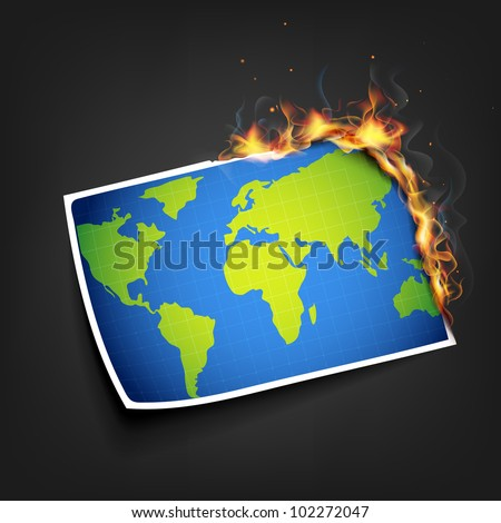 illustration of burning photo of earth showing global warming