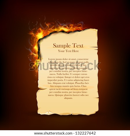 illustration of burning piece of paper with copy space