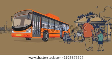 illustration of bus stop with passengers